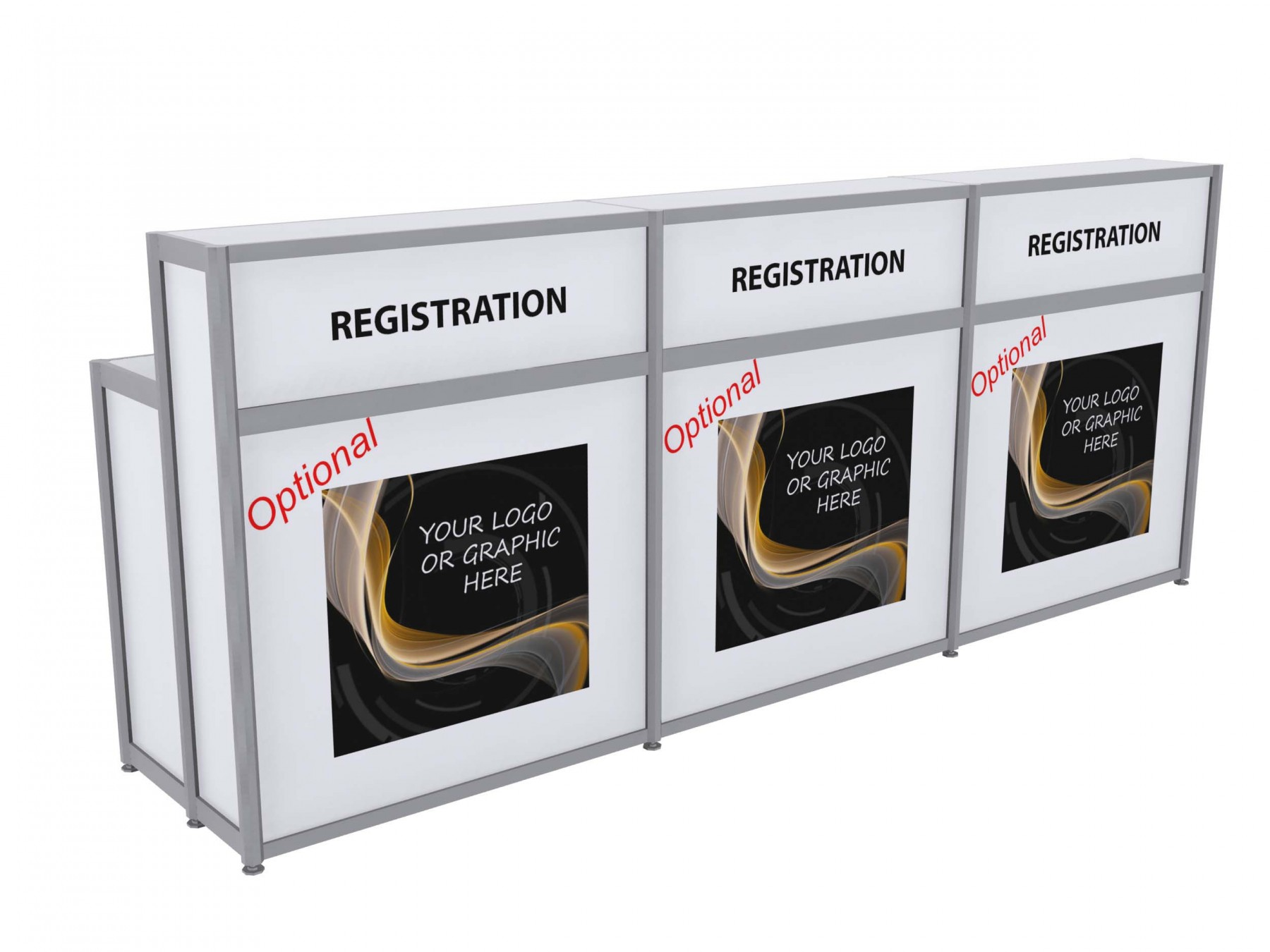 Exhibition Stand Hire Quotes : Registration counter white