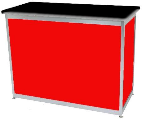 Octanorm Rectangular lockable counter -Red