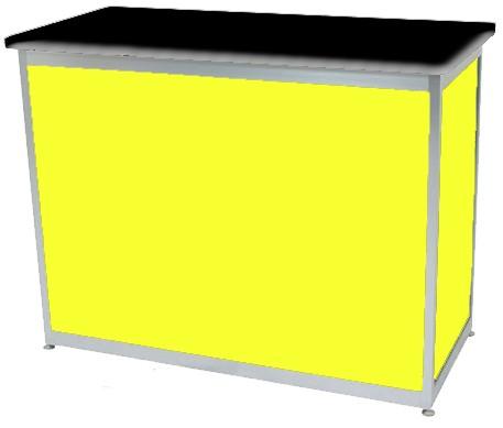 Octanorm Rectangular lockable counter - Yellow