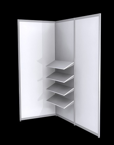 Octanorm Shelf Angled Kit - White MDF