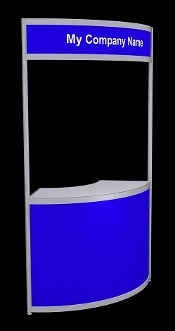 Tallboy Curved Information Counter - Blue