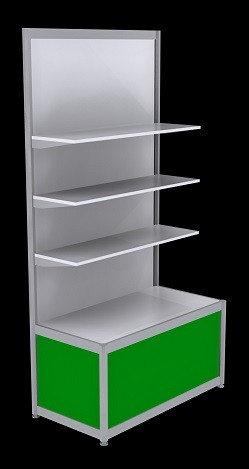 Free Standing Octanorm Shelf Unit - Green