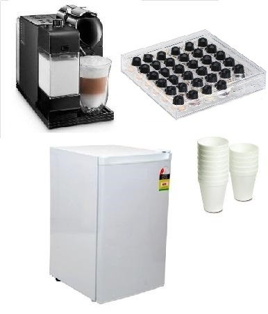 The Hospitality Package:  Automatic coffee machine, Coffee Capsules, Bar Fridge & More