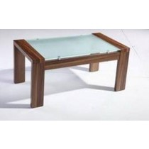 Bronte Wooden Glass Coffee Table - Walnut