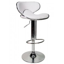 Euro Contemporary Gas Lift Bar Stools - White