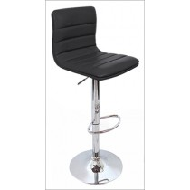 Euro Gas Lift High Bar Stool Padded Chair - Black