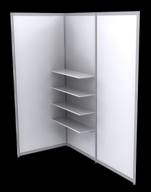 Octanorm Shelf straight Kit - White MDF