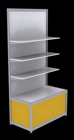 Free Standing Octanorm Shelf Unit - Yellow