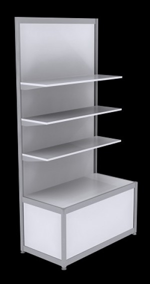Free Standing Octanorm Shelf Unit - White