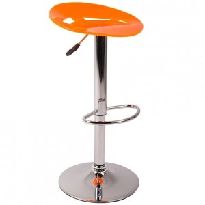 Acrylic Gas Lift Bar Stool - Orange