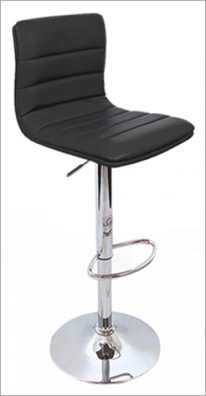Euro Gas Lift High Bar Stool Padded Chair - Black