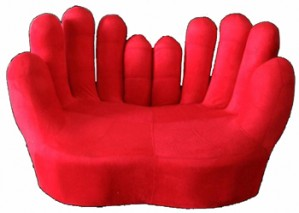 "Two Seater ""Hand"" Sofa \ Lounge - Red"