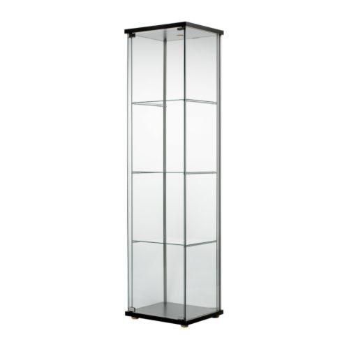 Tallboy Glass Display Cabinet - Black- Brown