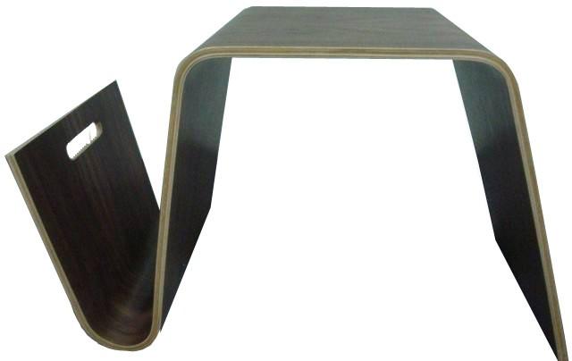 Hermann Coffee Table  \ Side table with Magazine Rack (walnut finish veneer)