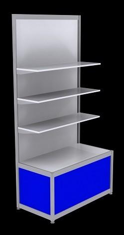 Free Standing Octanorm Shelf Unit - Blue