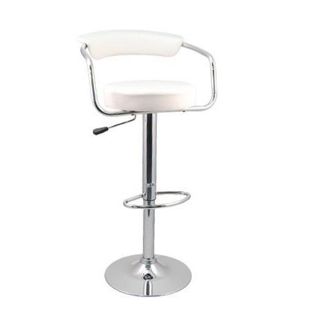 Euro Gas Lift High Designer Bar Stool Padded Chair - White