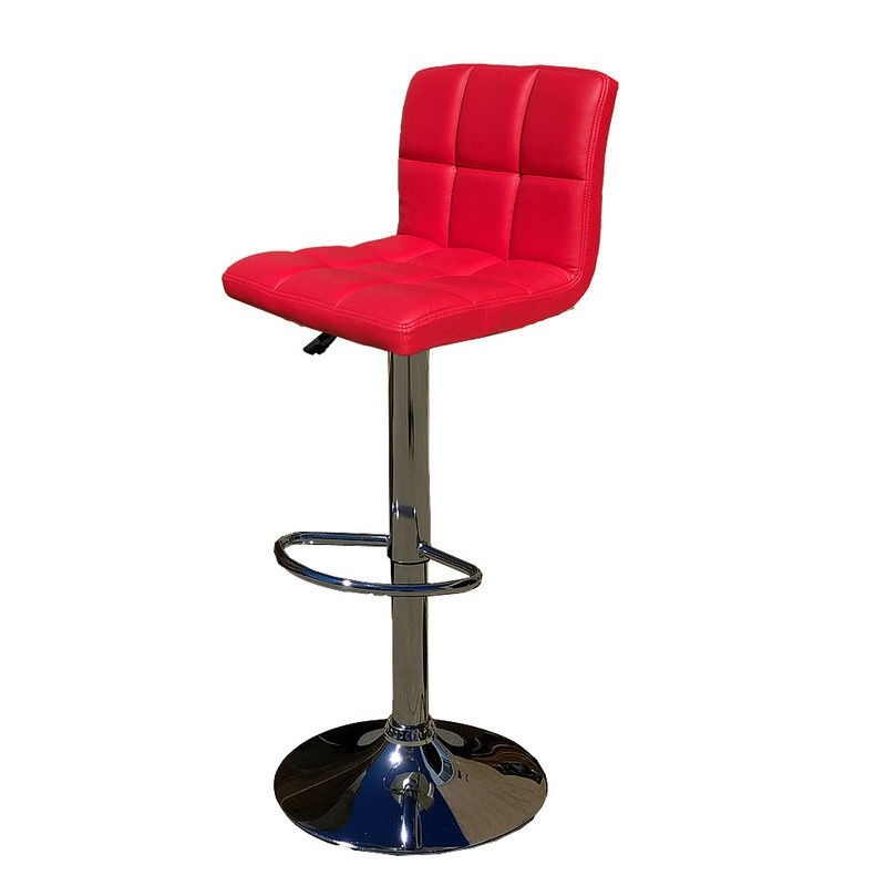 Euro Gas Lift High Bar Stool Padded Chair - Red