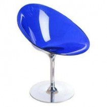 Eros by Kartell with S+ARCK. Swivel Chair Acrylic - Blue