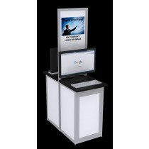 Double Computer Information Kiosk - White