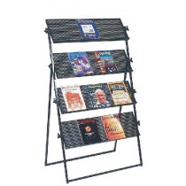 4 Shelves Black Mesh brochure stand.