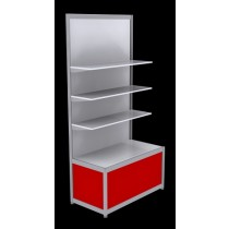 Free Standing Octanorm Shelf Unit - Red
