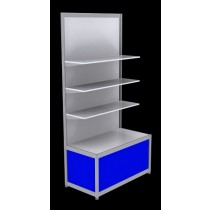 Free Standing Octanorm Shelf Unit - Blue